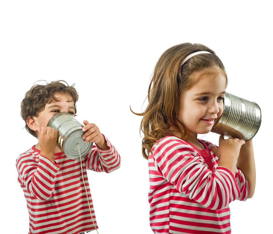 Talking on tin can phones